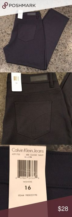 Calvin Klein pants Calvin Klein size 16  New with tags, comfortable, stretchy and would look great with boots. Slim ankle. Classic navy color. 66% rayon, 28% nylon, 6% spandex. Calvin Klein Jeans Pants Straight Leg