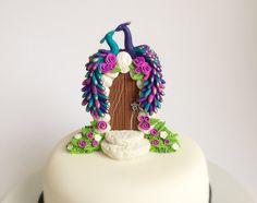 Turquoise and purple wedding cake topper peacocks par fizzyclaret