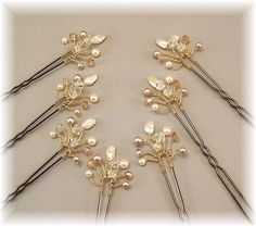 Wedding Hair Accessories, Bridal Hair Pins, Golden Honey Blend Crystal and Pearls, Set of Seven Hair Pins with Gold Plated Wiring. $35,00, via Etsy.