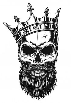 Crown Tattoo Men, Crown Tattoo Design, Skull Tattoo Design, Skull Tattoos, Body Art Tattoos, Sleeve Tattoos, Tattoo Designs, Skull Design, Shirt Designs