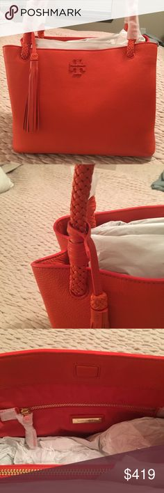 NWT Tory Burch Taylor Tote Beautiful Tory Burch Taylor Triple Compartment Tote.  Brand new, never used.  I purchased online and bought two & I'm only going to keep the other one so this one is up for grabs!! Tiger lily (orange) color - great color just in time for fall!! Tory Burch Bags Shoulder Bags