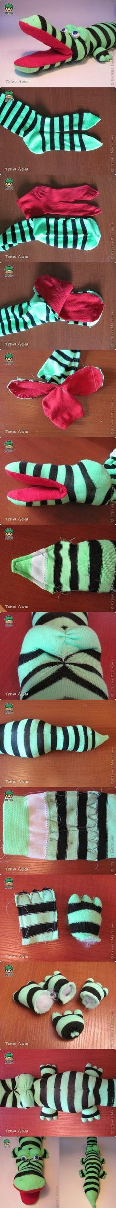 DIY Sock Crocodile