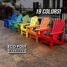 EcoAdirondack™ Chair made from durable recycled plastic and available in 19 colors. Our EcoAdirondack™ Chair features a medium seat height position with wide slats and contoured seat. The back design incorporates 6-back slats with a gentle horizontal curve that hugs your back. Vertical supports make this chair exceptionally sturdy. Our EcoAdirondack™ Chair is built from durable recycled plastic and assembled with stainless steel hardware. Made in USA.