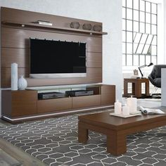 Manhattan Comfort Vanderbilt TV Stand and Cabrini Floating Wall TV Panel with LED Lights for TVs up to Multiple Colors, Nut Brown Home Theater Design, Tv Wall Panel, Home, Floating Shelves Kitchen, Tv Unit Design, Modern Entertainment Stand, Wall Paneling, Tv Stand With Led Lights, Living Room Tv