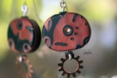 Polymer Clay Earrings ADELLE Collection  WEARABLE ART by shankas, $15.00