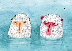 Illustration Singe, Japanese Illustration, Year Of The Monkey, Guache, Cat Colors, Colours, Illustrations Posters, Animal Illustrations, Pin Collection