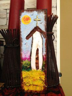 Folk Art TEXTURED church cross original painting12x4