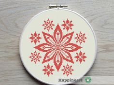modern cross stitch pattern, red flower ornament, geometric pattern, folk art, PDF ** instant download**