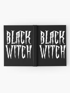 """Black witch, white magical, fantasy font"" Hardcover Journal by cool-shirts"