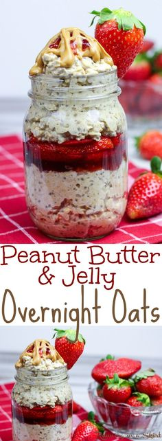 Healthy Peanut Butter and Jelly Overnight Oats recipe in a Jar- easy, only 6 ingredients!  Filled with chia seeds, strawberry and oatmeal this is the perfect way to start your mornings for families.  Without yogurt making it vegan, dairy free and adaptable to gluten free with the right oats! / Running in a Skirt