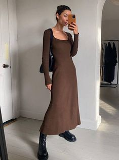 13 Pretty Fall Dresses to Wear With Chunky Boots | Who What Wear Winter Dresses, Casual Dresses, Fall Dress Outfits, Boot Outfits, Chic Dress, Dress Up, Jumper Dress, High Neck Dress, Mode Dope