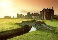 St. Andrews, Scotland, home to the game of Golf.... the pictured course is over 500 years old and the sand traps have ladders!