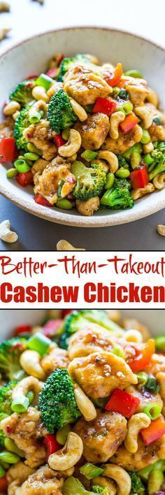 Paleo Better-Than-Takeout Cashew Chicken - Juicy chicken, crisp-tender vegetables, and crunchy cashews coated with the best garlicky soy sauce! Skip takeout and make your own restaurant-quality meal that's easy, ready in 20 minutes, and healthier! Cashew Chicken Sauce, Peanut Chicken, Chicken With Cashews, Chicken Salad, Asian Recipes, Healthy Recipes, Healthy Chinese Recipes, Cashew Recipes, Vegetarian Recipes