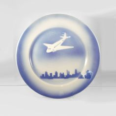 Syracuse China Blue & White Airplane Plate