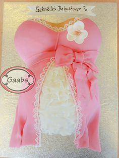 Babyshower girl baby,  pregnant belly cake pink!
