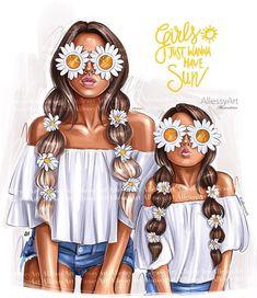 Mother And Daughter Drawing, Mom Daughter, Mode Poster, Very Nice Images, Textile Logo, My Baby Girl, Digital Illustration, Fantasy Illustration, Portrait Illustration