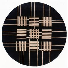 New Wave 48 Black Contemporary Round Wool Rug - NW-48BLK By Momeni Rugs