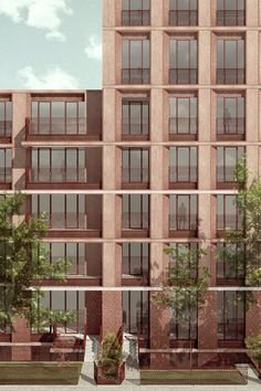 London based architectural practice with a reputation for bold ideas, strong forms and carefully crafted buildings. Brick Architecture, Architecture Graphics, Architecture Drawings, Residential Architecture, Urban Design Diagram, Base Building, Classic Building, Brick Facade, Facade Design