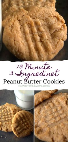 These Peanut Butter cookies are made with 3 ingredients in just 13 minutes! Candy Cookies, No Bake Cookies, Peanut Butter Cookies, 3 Ingredients, Sugar Free, Deserts, Cooking Recipes, Yummy Food, Sweets