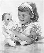 "Betsy Wetsy dolls may have been the first ""life-like"" dolls.  We fed them bottles of water which then ran out into their diapers.  Such fun!"