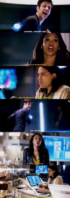 """""""No lightning. It's a hologram, remember?"""" - Cisco, Iris and Barry #TheFlash"""