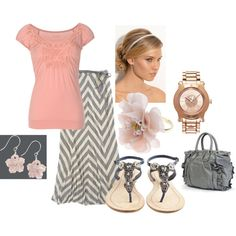 Peach & Grey!! <3, created by jamie-duncan-smith on Polyvore