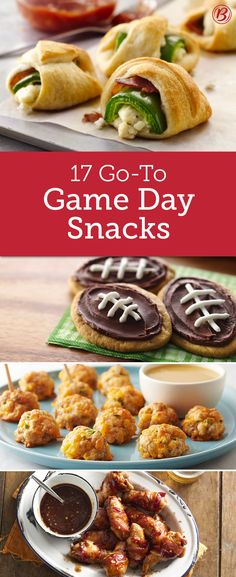 big with these crowd-pleasing apps, dips and desserts that are perfect for pleasing a houseful of hungry fans!Win big with these crowd-pleasing apps, dips and desserts that are perfect for pleasing a houseful of hungry fans! Healthy Superbowl Snacks, Football Snacks, Game Day Snacks, Game Day Food, Finger Food Appetizers, Appetizers For Party, Appetizer Recipes, Snack Recipes, Cooking Recipes