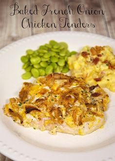 Baked French Onion Chicken Tenders Recipe - chicken tenders topped with French onion dip, cheese and French fried onions. Ready in under 30 minutes! We devoured this!!!