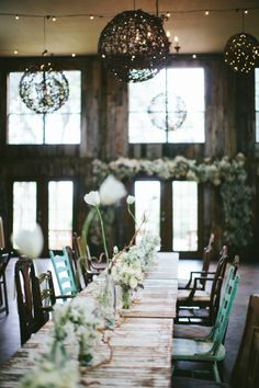 #tablescape mismatched chairs and all white florals | Photography by loftphotographie.com |  Event Coordination by coordinatethis.com |  Floral Design by petalpushers.us |   Read more - http://www.stylemepretty.com/2013/07/16/austin-wedding-from-loft-photographie/