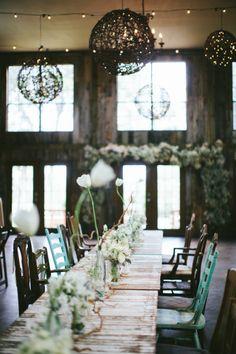 Loft wedding with mismatched chairs Loft Wedding, Wedding Table, Diy Wedding, Dream Wedding, Wedding Day, Wedding Reception, Wedding Stuff, Wedding Scene, Wedding Linens