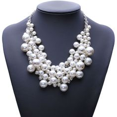 Elegant Simulated Pearl Bubble Necklace Add that final touch to your outfit with this gorgeous necklace. Simulated pearls move as you do for the perfect dose of drama. Length: 20-50cm {7.87 - 11.81in}