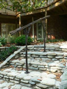 custom made exterior hand rail Porch Handrails, Exterior Handrail, Outdoor Stair Railing, Iron Handrails, Wood Handrail, Iron Railings, Rebar Railing, Handrail Ideas, Staircase Ideas