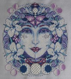 My cross stitch completed 29 March the design is called 'Mother Moon' from the book 'Bewitching Cross Stitch' by Joan Elliott Pagan Cross Stitch, Cross Stitch Angels, Cross Stitch Flowers, Cross Stitch Kits, Cross Stitch Designs, Cross Stitch Patterns, Cross Stitching, Cross Stitch Embroidery, Everything Cross Stitch