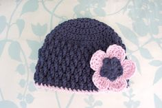Love the navy and pink! Free crochet pattern 6 month size.