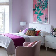 Hübsche lila Schlafzimmer mit weißen Möbeln Wohnideen Living Ideas