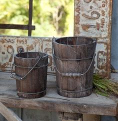 Rustic Wooden Buckets (Set of 2)