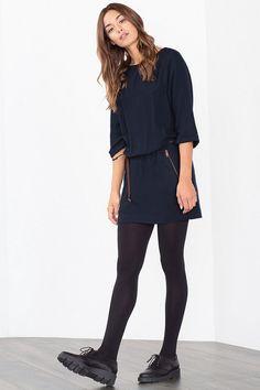 @espritofficial #Esprit jurk met lederlook ceintuurtje #navyblue #cobaltBlue #blueShades #fashion #colortrends #trends