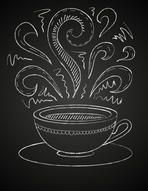 Hand drawn vector illustration of white cup and curly ornaments on blackboard. Concept image of coffeehouse, restaurant, menu, cafe, coffee shop, leisure, morning, evening, date, tea house, aroma