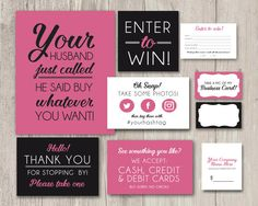Vendor Table Kit, Craft Table Kit, Table Signs, Vendor Fair Table Decor, Printable Signs, Enter to W