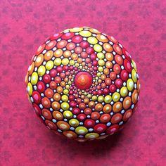 Jewel+Drop+Mandala+Painted+Stone+Cosmic+by+ElspethMcLean+on+Etsy