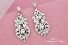 Crystal bridal earrings Art Deco wedding by RomantiqueStudio