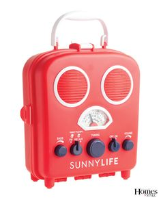 It looks like a robot, sounds like a radio, AND has a spot inside to keep your phone or MP3 player safe from water or sand! The Sunnylife Portable Speaker and Radio features a padded interior and a strap to keep your device secure. Plug your phone or MP3 player into the audio jack or use the AM/FM tuner to catch the Royals game. Requires 4 AA batteries. Shown in red, $50.00. jcrew.com