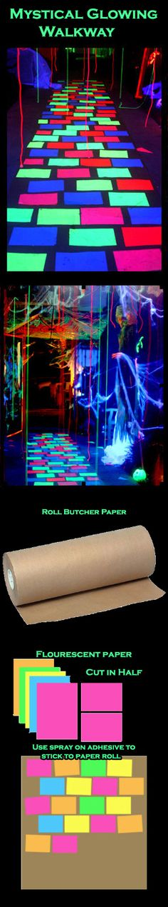 "DIY: Mystical Glowing Walkway. Supplies: -A roll of paper from home center: paper-bag brown. -Duct tape. -3M ""Spray Mount"" spray adhesive -Fluorescent sheets of paper. Halloween Glow-in-the-Dark Spooktacular Halloween Party Decorations & Ideas"