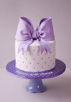 21st Purple Bow Cake - Cake by tortacouture