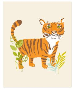 Tiger safari zoo art print 8x10 by SeaUrchinStudio on Etsy
