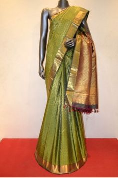 Bridal Green Tissue Brocade Grand Wedding Kanjeevaram Silk Saree Product Code: SSJG01030