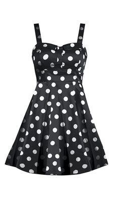 Retro Polka Dot Swing Dress - Black