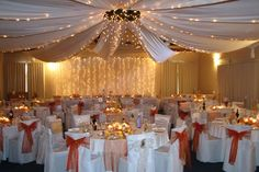 stunning ceiling lighting decorating ideas for weddings Tulle Decorations, Wedding Reception Decorations, Decorating With Christmas Lights, Quinceanera Party, Modern Ceiling, Wedding Pinterest, Party Lights, Love And Marriage, Wedding Designs