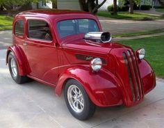 Ruby Metallic Ford Anglia.