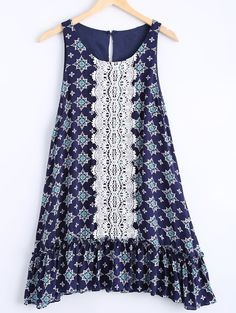 Casual Round Neck Sleeveless Floral Print Dress For Women